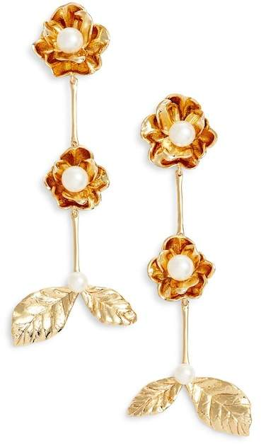 Kate Spade Floral Imitation Pearl Drop Earrings