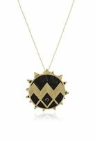 House Of Harlow Black Leather Zig Zag Sunburst Necklace