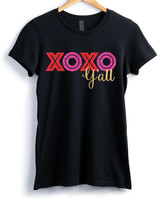 XOXO Personalized Planet Women's Tee Shirts BLACK - Black Glitter 'XOXO Y'all' Crewneck Tee - Women