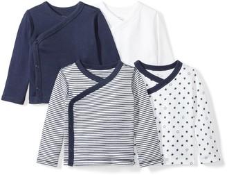 Moon and Back Baby Set of 4 Organic Long-Sleeve Side-Snap Shirts