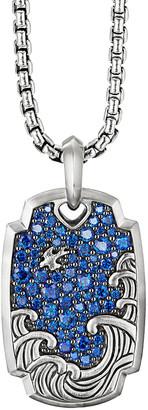 David Yurman Men's Waves Pave Sapphire Amulet Tag Enhancer