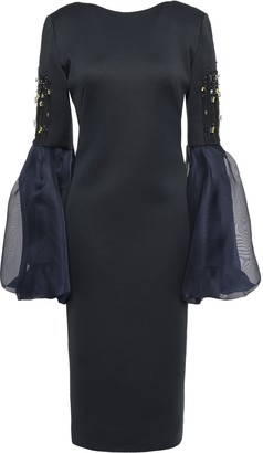 Lanvin Open-back Embellished Organza And Ponte-paneled Dress
