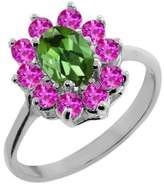 Gem Stone King 1.35 Ct Oval Green Tourmaline Pink Sapphire 14K White Gold Ring