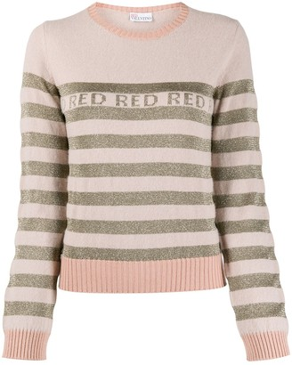 RED Valentino RED striped crew neck jumper