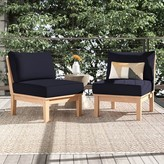 Anthony Logistics For Men Outdoor Teak Patio Chair with Cushions Foundstone Cushion Color: Navy