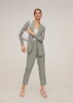 MANGO Double buttoned modal blazer pastel green - 1 - Women