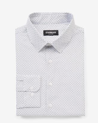 Express Extra Slim Dot Print Cotton Dress Shirt