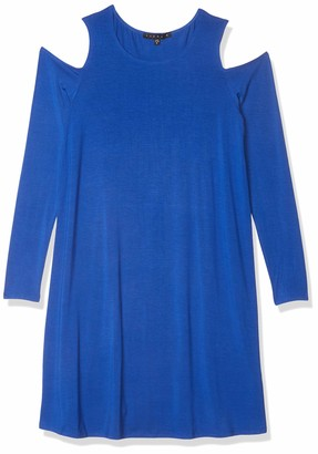 Tiana B T I A N A B. Women's Solid Rayon Spandex Cold Shoulder Long Sleeve Dress