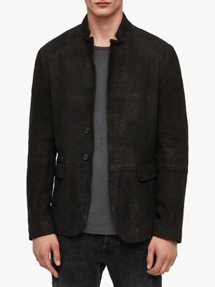 AllSaints Brenton Matte Leather Blazer, Black
