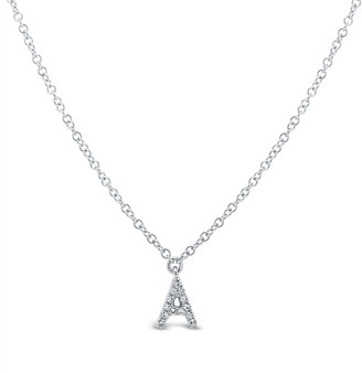 Ron Hami 14K White Gold Diamond Initial Pendant Necklace - 0.03-0.06 ctw