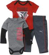 Puma Infant Forever Faster 3-Piece Newborn Coal Bodysuit & Pant Set Sz: 0-3M