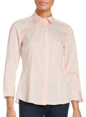 Lafayette 148 New York Solid Long Sleeve Shirt