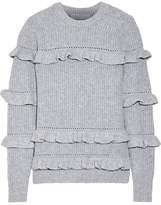 MICHAEL Michael Kors Ruffle-trimmed Knitted Sweater - Gray