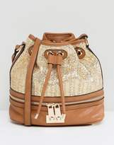 Dune Raffia And Tan Bucket Bag