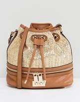Dune Raffia and Tan Bucket Bag