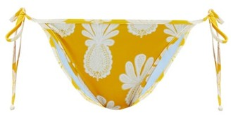 La DoubleJ Pineapple-print Side-tie Bikini Briefs - Womens - Yellow Print