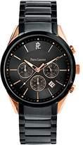 Pierre Lannier 227D039 City Sobre Men's Watch, Analogue Quartz, Black Dial, Black Leather Strap