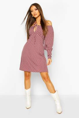 boohoo Polka Dot Square Neck Puff Sleeve Mini Dess