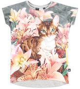 Molo Ragnhilde Cap-Sleeve Cat Jersey Tee, Multicolor, Size 3-12