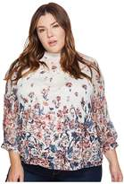 Lucky Brand Plus Size Floral Mixed Print Top Women's Long Sleeve Pullover