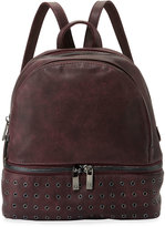 Neiman Marcus Distressed Grommet-Trim Backpack, Burgundy