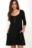 LuLu*s Twirl Power Black Swing Dress