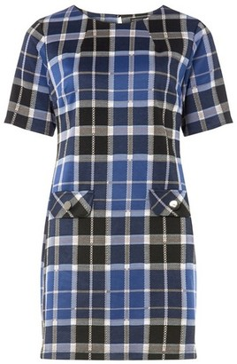 Dorothy Perkins Womens Blue And Grey Checked Tunic, Blue