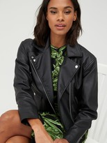 Very Faux Leather Biker Jacket - Black