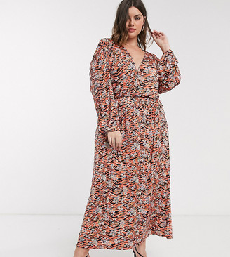 Asos DESIGN Curve long sleeve maxi dress in black and orange animal floral print-Multi