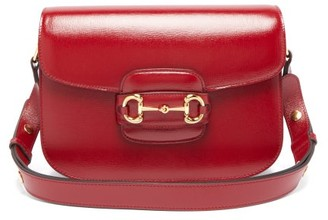 Gucci 1955 Horsebit Grained-leather Shoulder Bag - Red