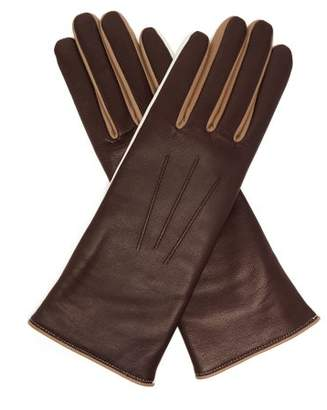 Isabel Marant Tri-tone Leather Gloves - Womens - Brown Multi