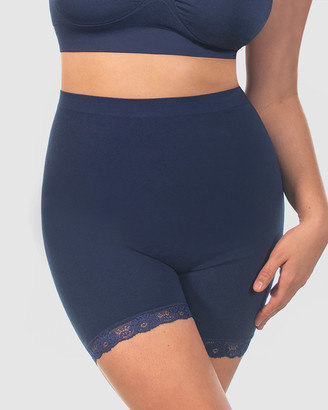 B Free Intimate Apparel - Women's Navy High Waisted Briefs - Curvy Anti-Chafing Petite Cotton Shorts - Size One Size, M at The Iconic