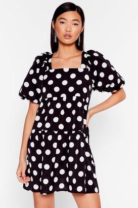 Nasty Gal Womens The Night's Dot Over Yet Puff Sleeve Mini Dress - Black - 4, Black