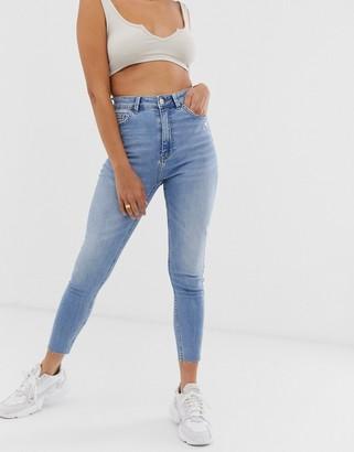 Bershka super high waist skinny jean in mid blue