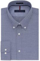 Tommy Hilfiger Men's Big & Tall Classic-Fit Non-Iron Night Blue Geo-Print Dress Shirt