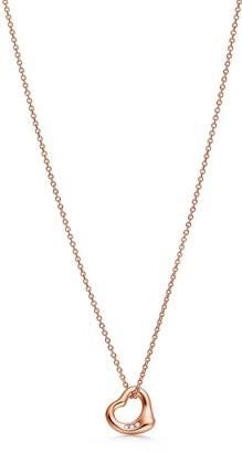 Tiffany & Co. Elsa Peretti Open Heart pendant in 18k rose gold with diamonds, 11 mm wide