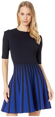 Ted Baker Salyee Short Sleeve Knitted Skater Dress (Dark Blue) Women's Clothing
