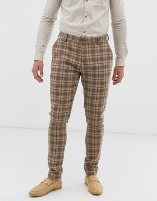 ASOS DESIGN wedding super skinny suit pants in wool mix camel check