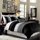 Chezmoi Collection 8-Piece Luxury Stripe Duvet Cover Set, King, Black/White/Grey