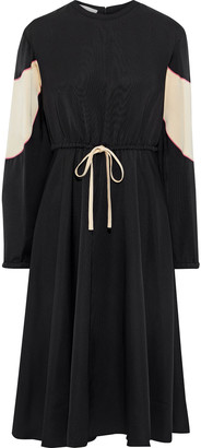 Valentino Gathered Two-tone Faille Dress