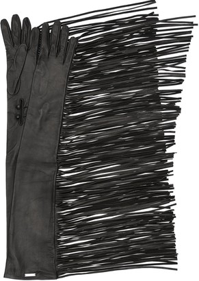 DSQUARED2 Long Fringed Leather Gloves