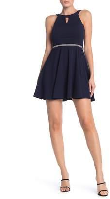Love, Nickie Lew Bejeweled Waist Keyhole Skater Dress
