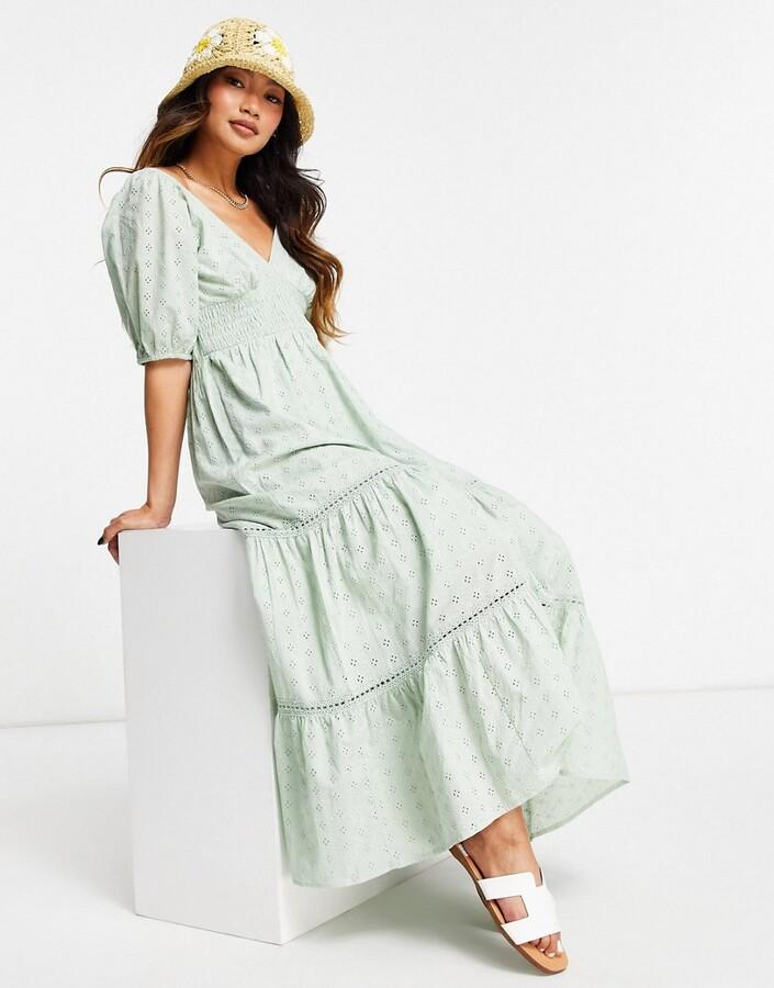 ASOS DESIGN broderie shirred waist lace insert maxi dress in sage green