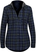 Hot From Hollywood Women's Button Up Long Sleeve Plaid Shirt with Hoodie