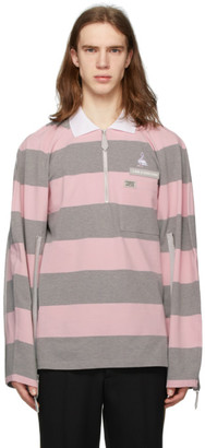 Burberry Pink and Grey Striped Zip Detail Polo