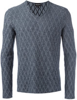 Giorgio Armani diamond knit V-neck jumper - men - Cotton/Virgin Wool - 52