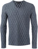 Giorgio Armani diamond knit V-neck jumper