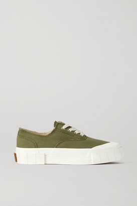 Good News Net Sustain Space For Giants Frayed Organic Cotton-canvas Sneakers - Forest green