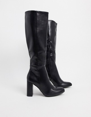 Truffle Collection heeled knee high boots in black