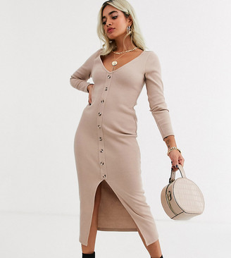 Asos DESIGN Petite waffle button through maxi dress-Beige